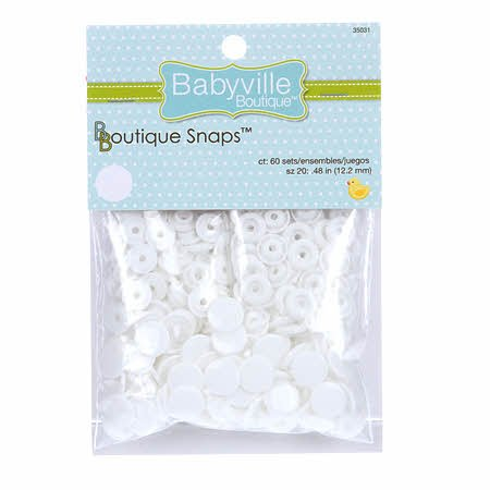 Babyville Boutique Snaps Size 20 White