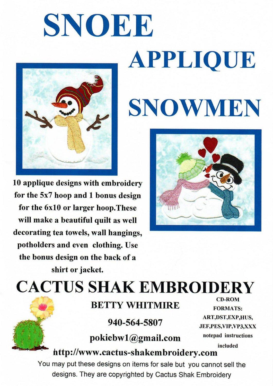 Snoee Applique Snowmen Applique Machine Embroidery CD