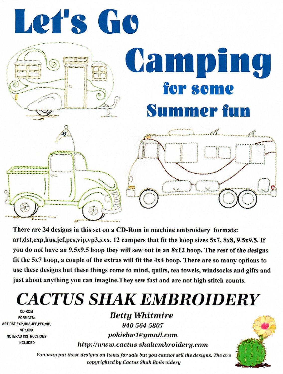 Lets Go Camping For Summer Fun Machine Embroidery CD