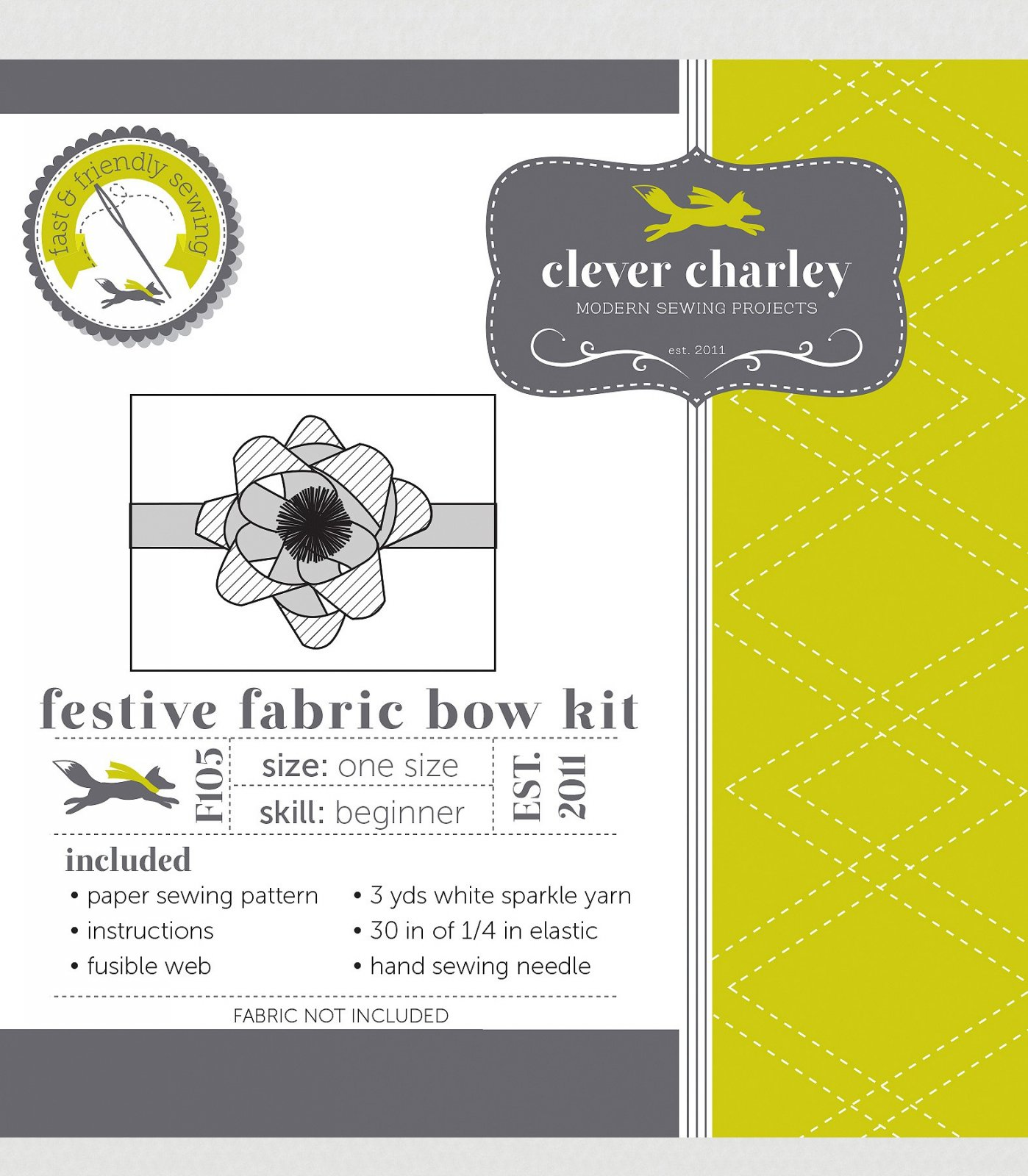 Sewing Kit Festive Fabric Bow