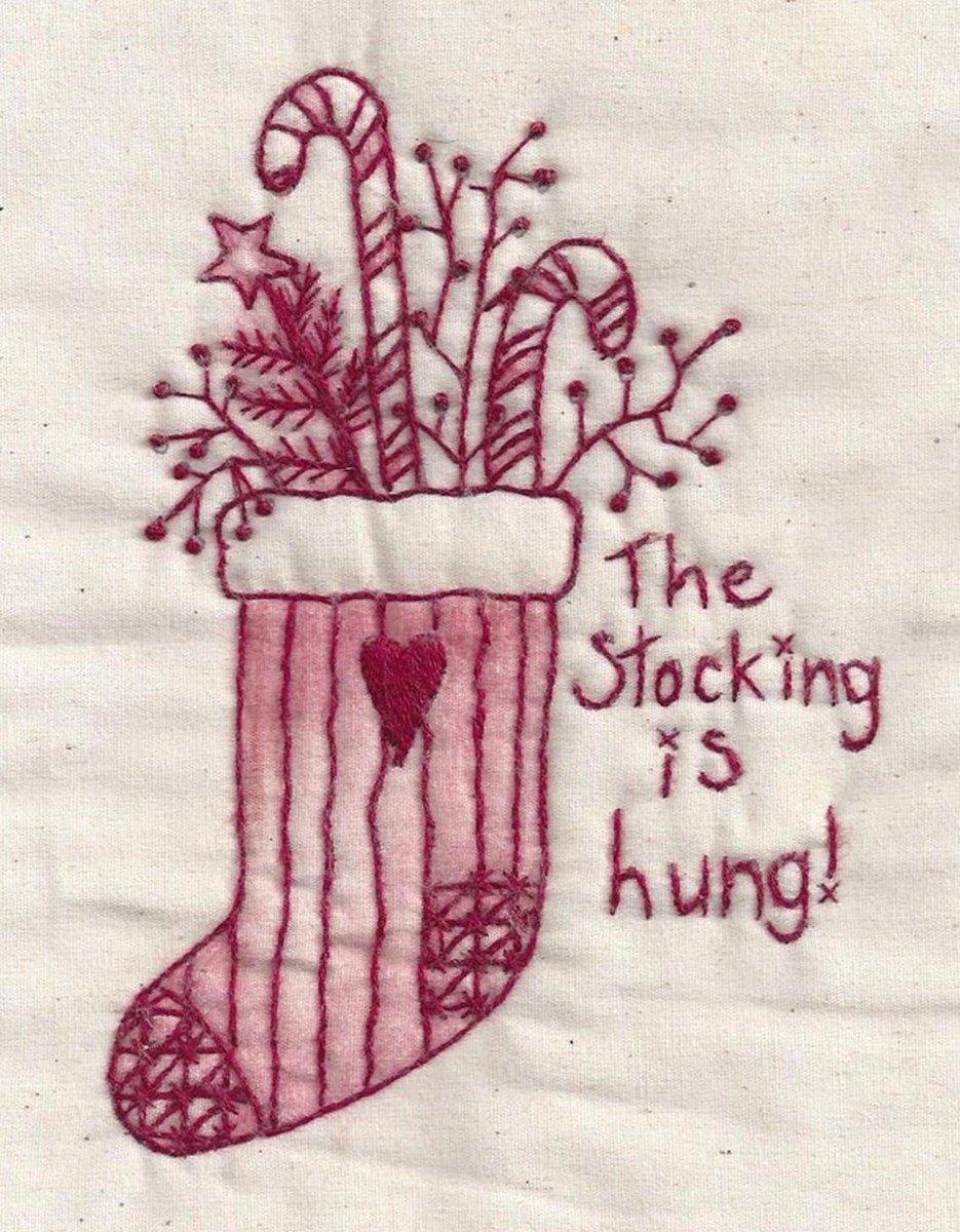 Stocking Hung Redwork