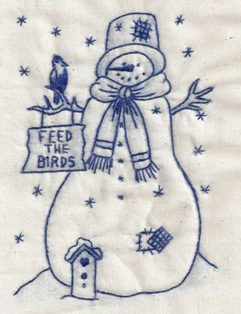 Birdfeed Snowman Bluework