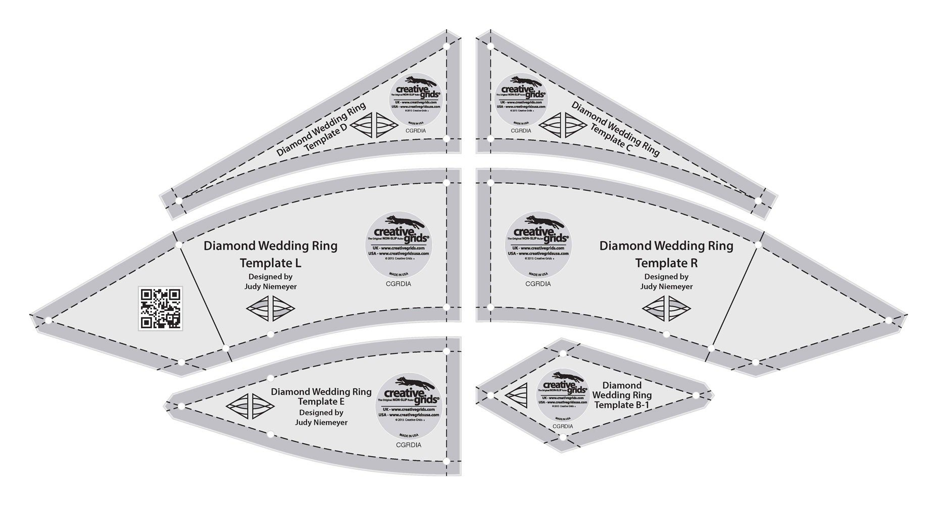 Creative Grids Diamond Wedding Ring Templates Quilt Ruler