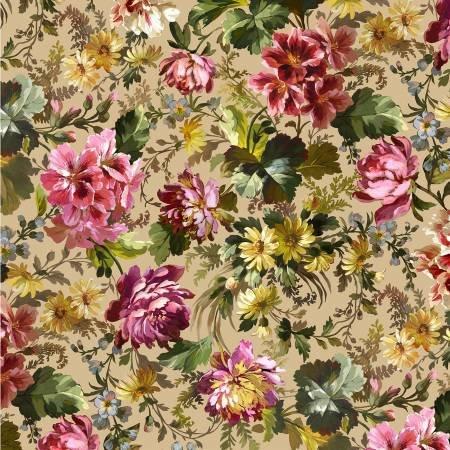 Victoria's Garden - Splendid Bouquet Digitally Print - Beige