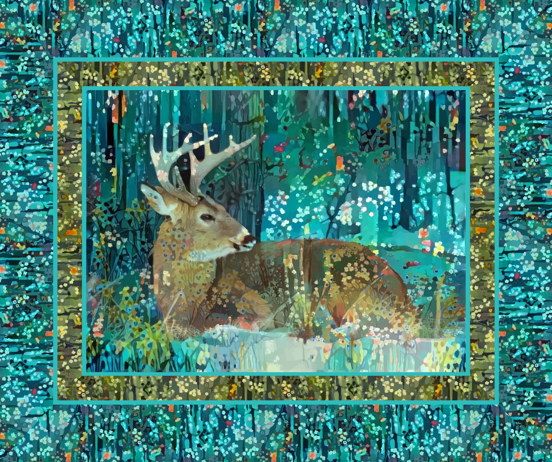 FANTASY FOREST PANEL TEAL MULTI