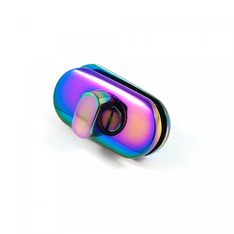 Small Turn Lock Iridescent Rainbow