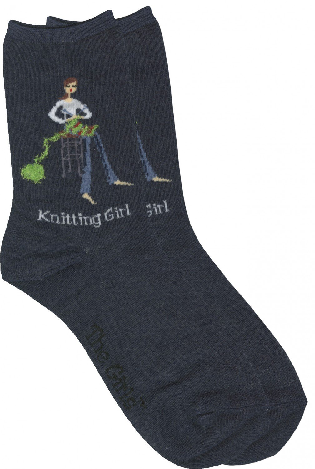Sock Knitting Girl Denim