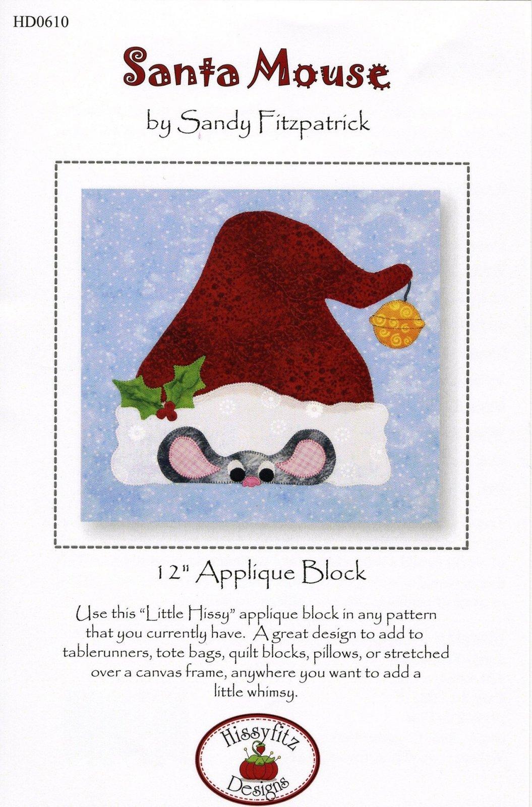 Santa Mouse - 12in Applique Block