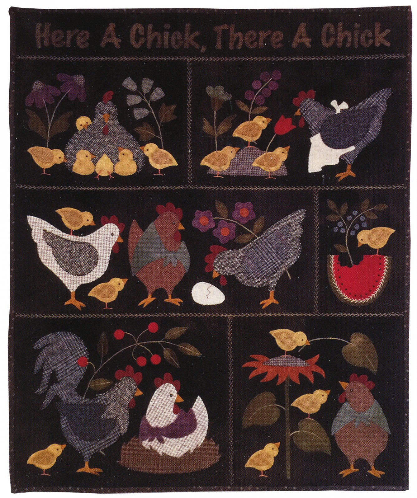 Here A Chick There A Chick Quilt Kit - Dark Version