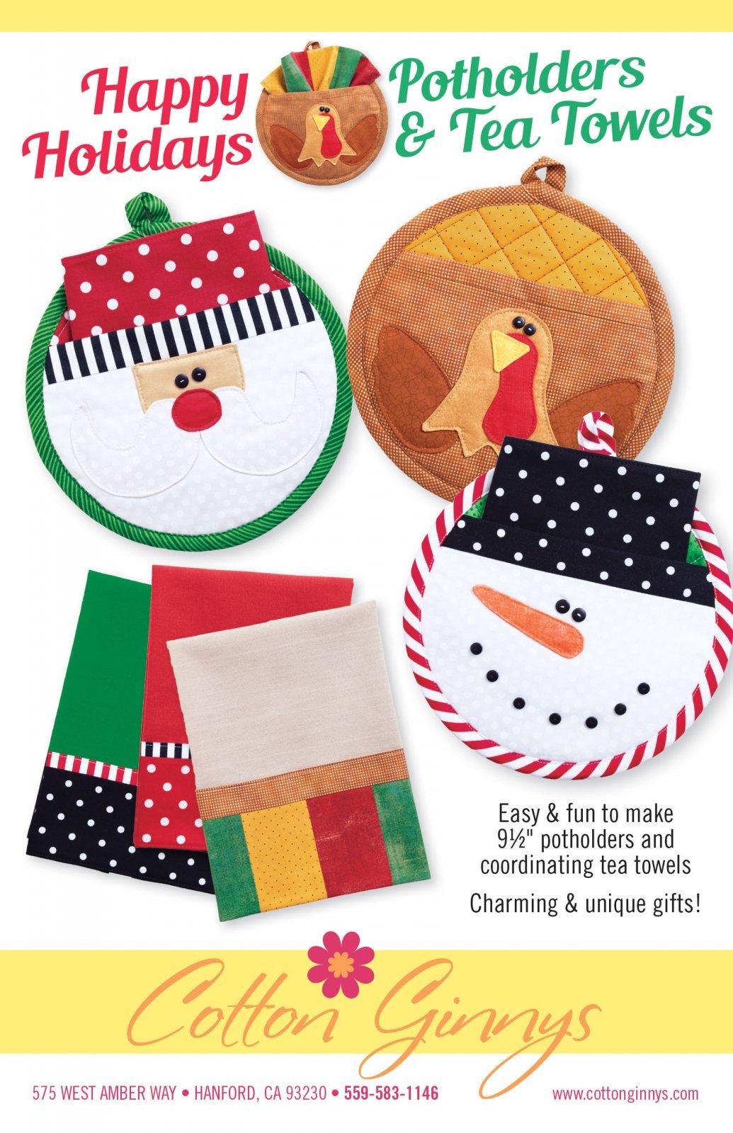 Happy Holidays Potholders & Tea Towels