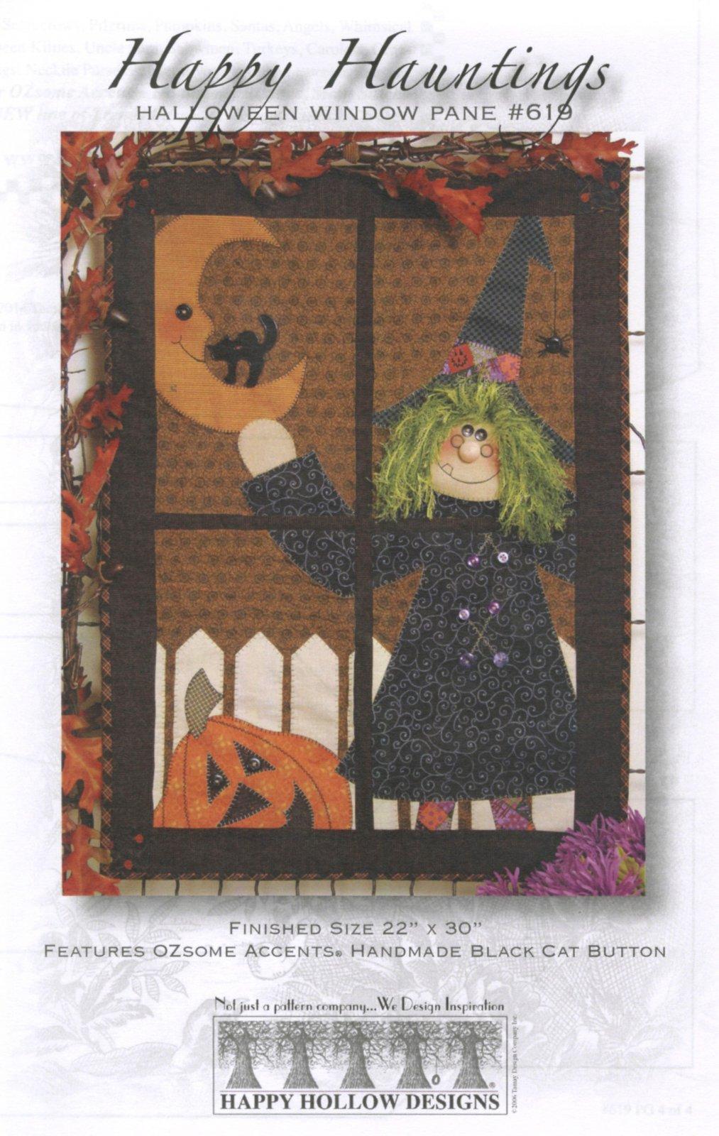 Happy Hauntings Halloween Window Pane Pattern