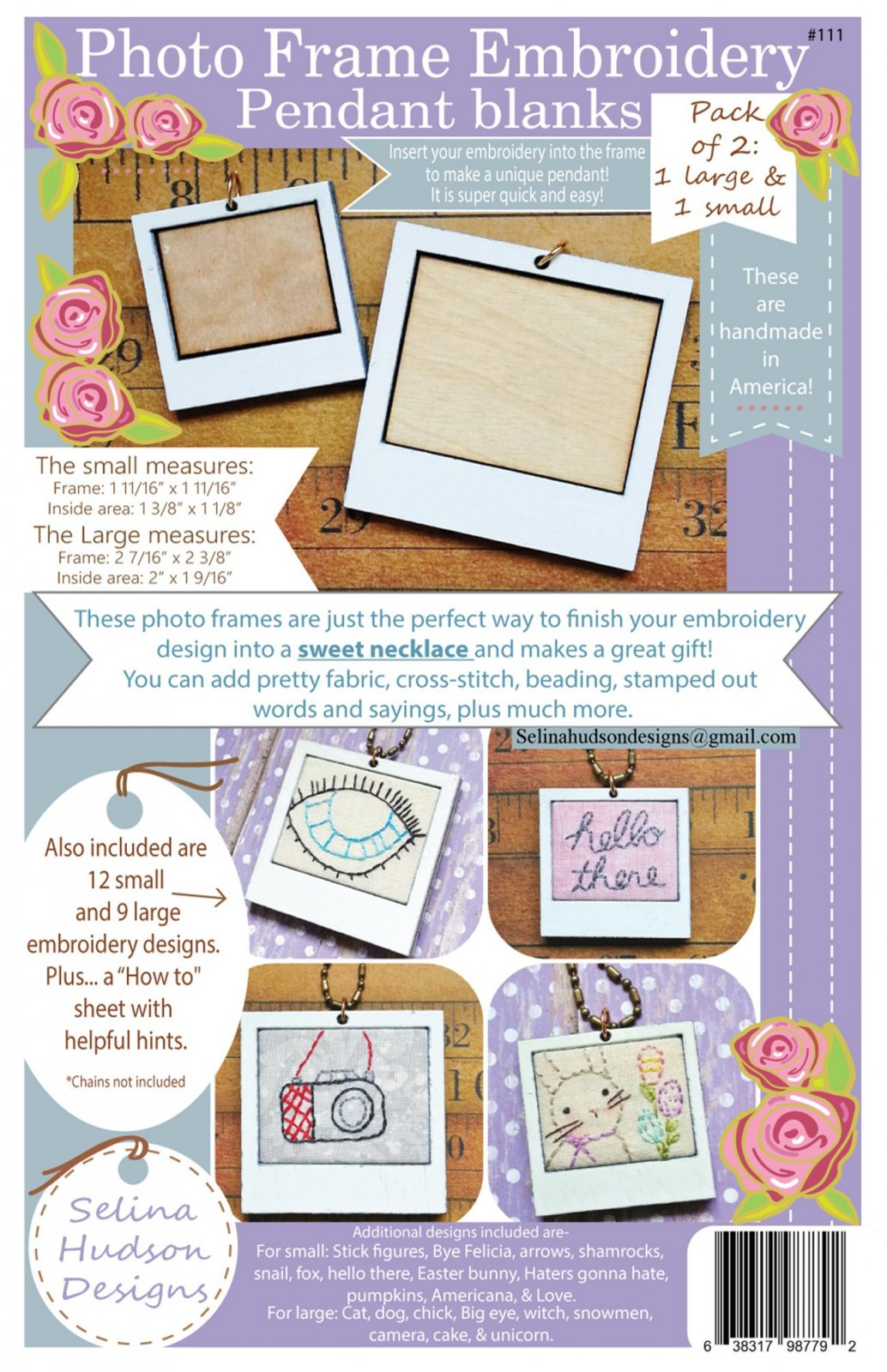 Photo Frame Embroidery Pendant Blanks