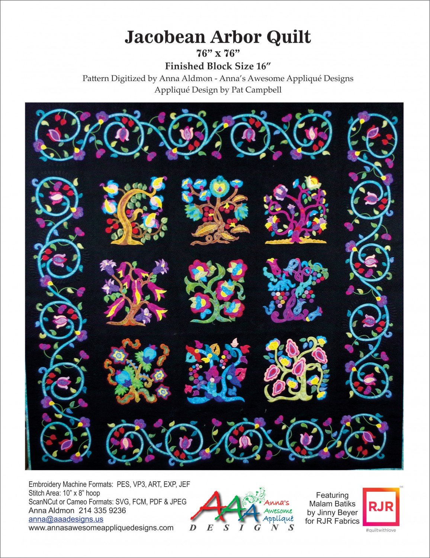 USB Jacobean Arbor Machine Embroidery