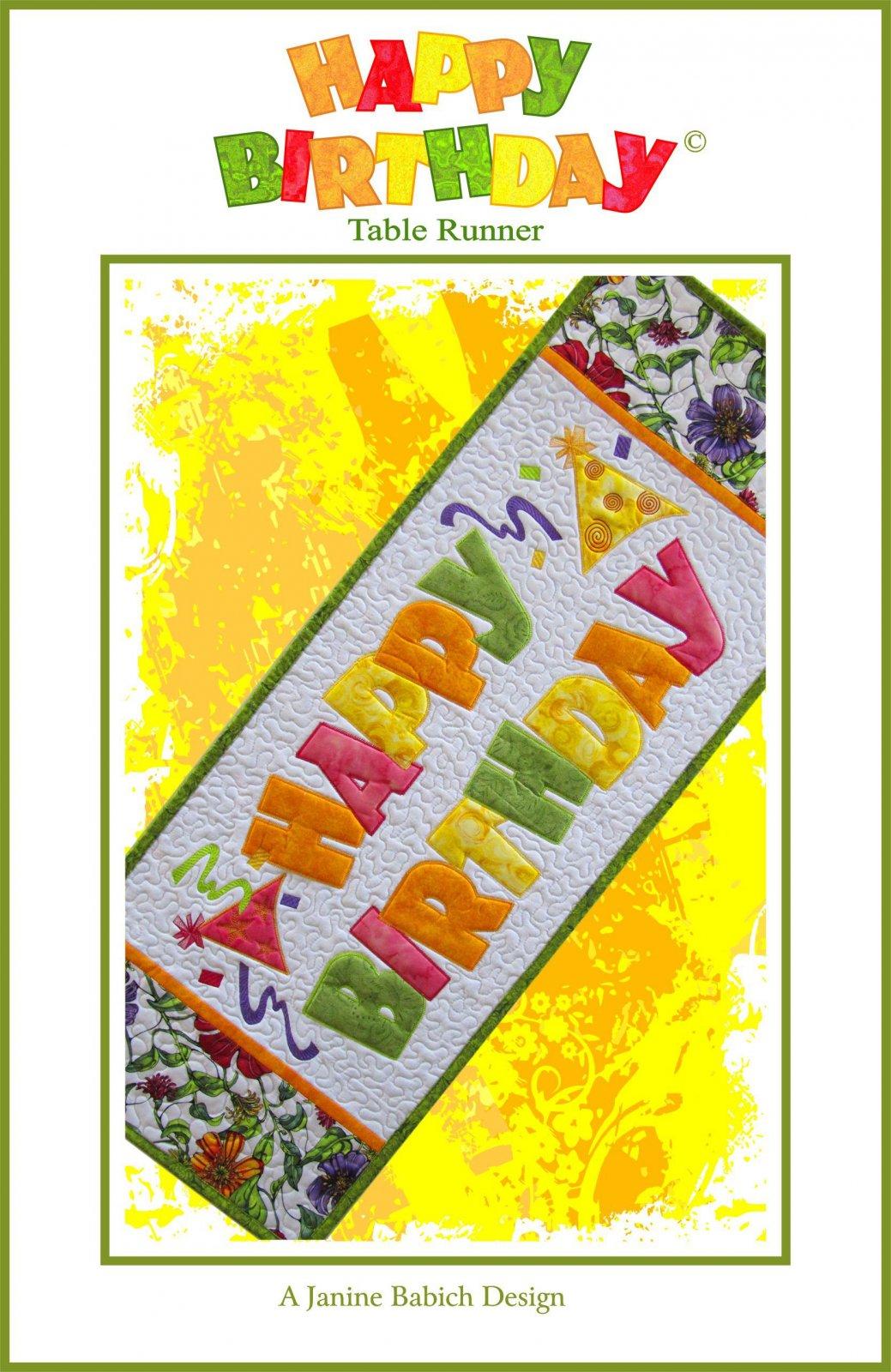 CD Happy Birthday Table Runner Machine Embroidery