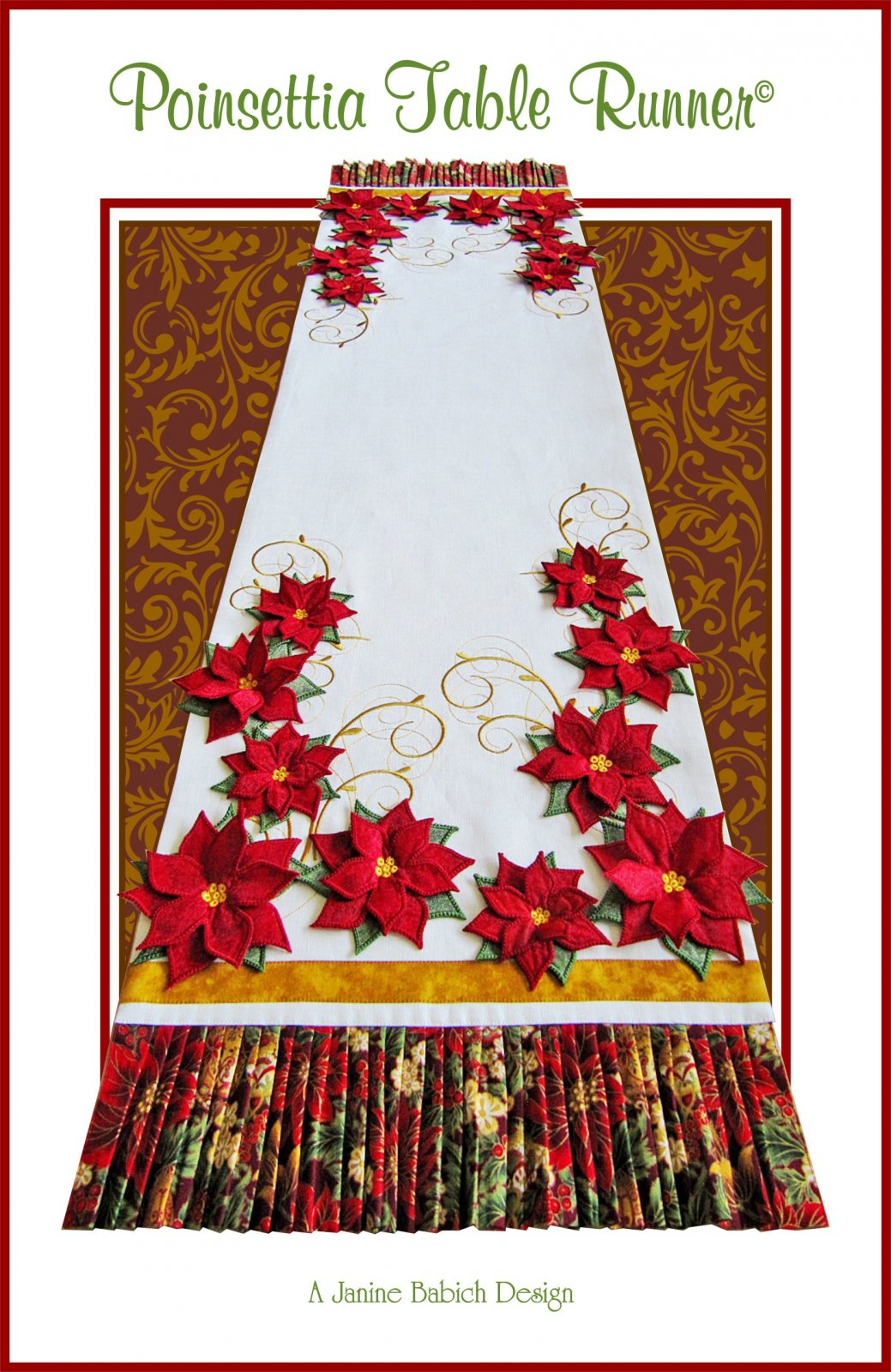 CD Poinsettia Table Runner Machine Embroidery