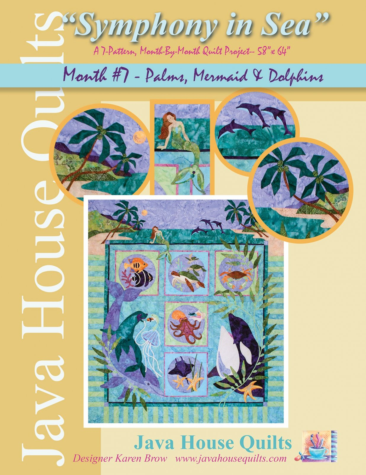Symphony in Sea - Palms Mermaid & Dolphins Block 7