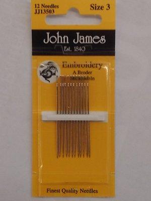 John James Embroidery Needles Size 3