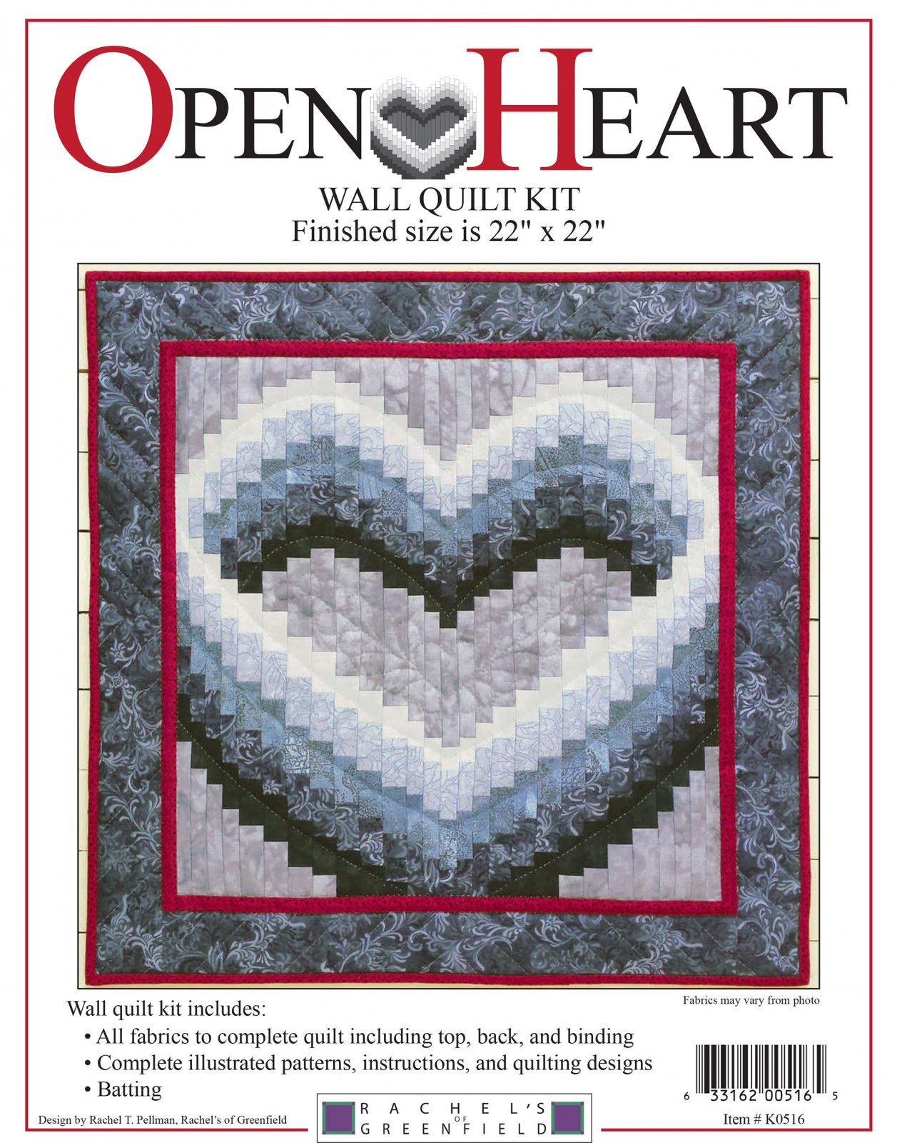 Open Heart Wall Quilt kit