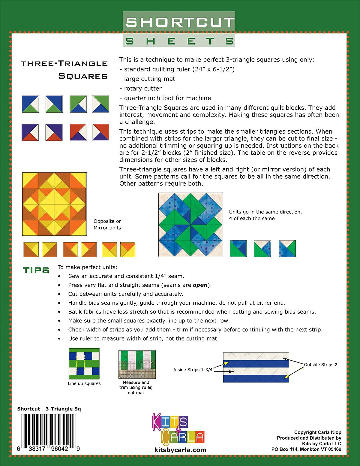 Shortcut Sheets Three and Four Triangle Squares