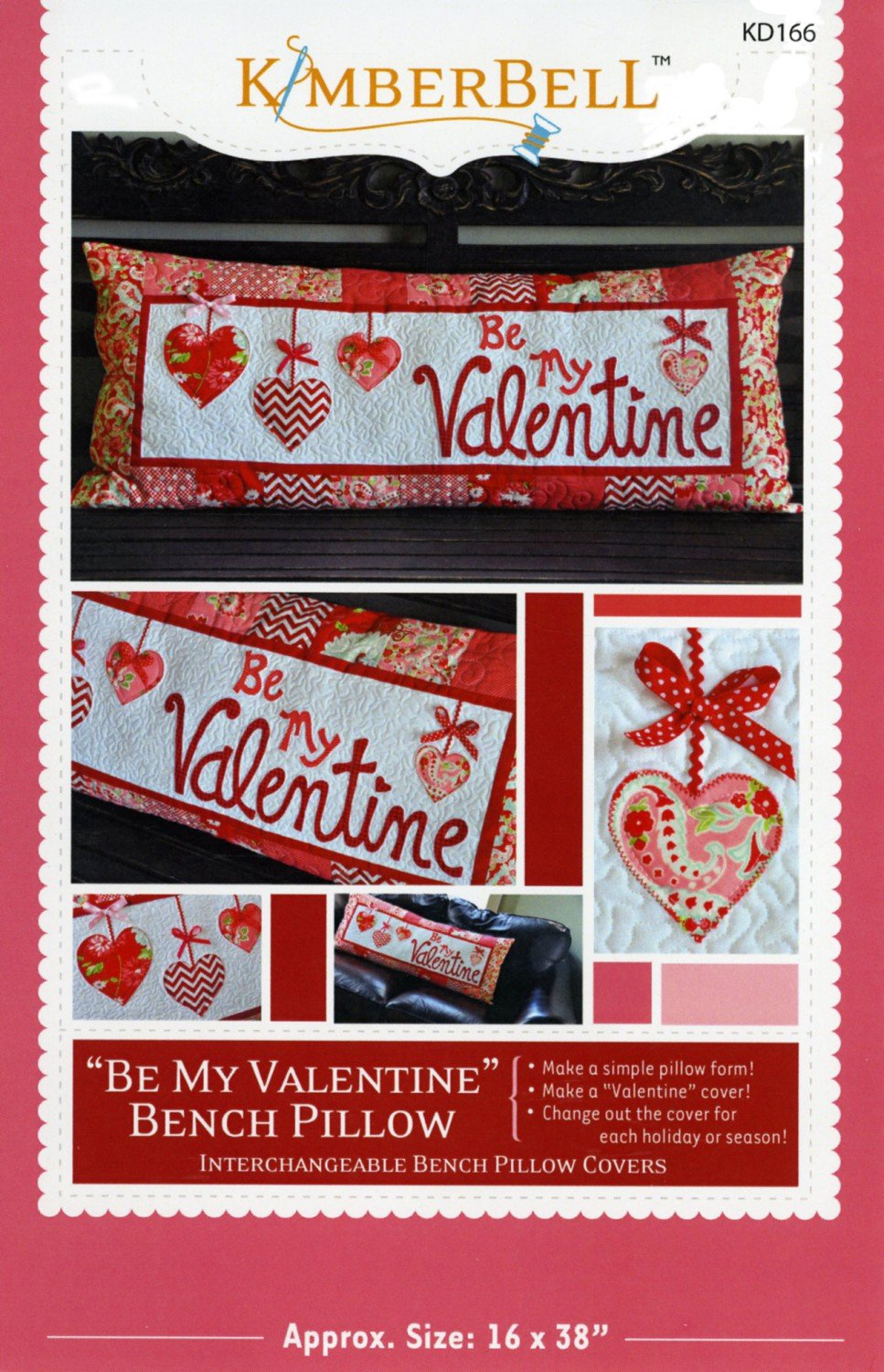 Be My Valentine Bench Pillow by KimberBell