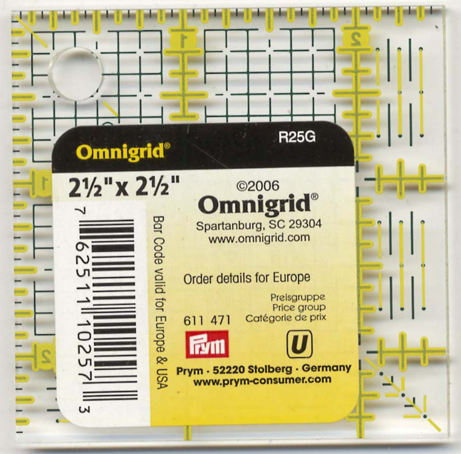 Omnigrid Ruler 2 1/2in With 1/8in Grid