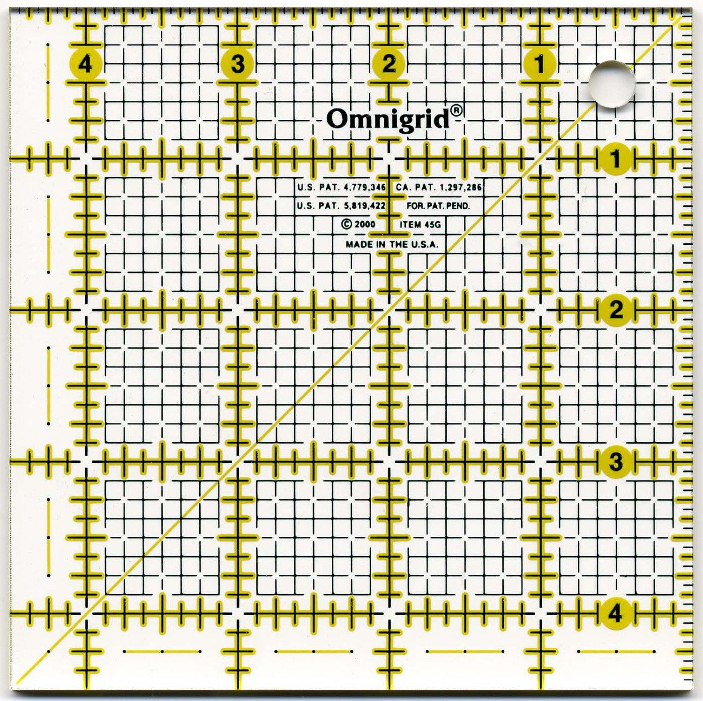 Omnigrid Ruler 4 1/2in Square All-Over Grid