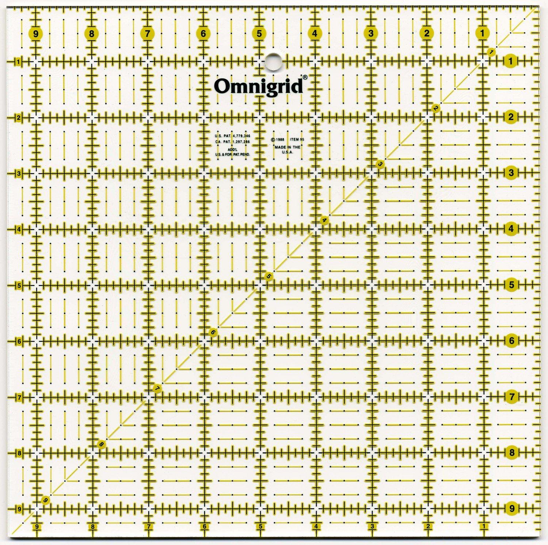 Omnigrid Ruler 9 1/2in Square