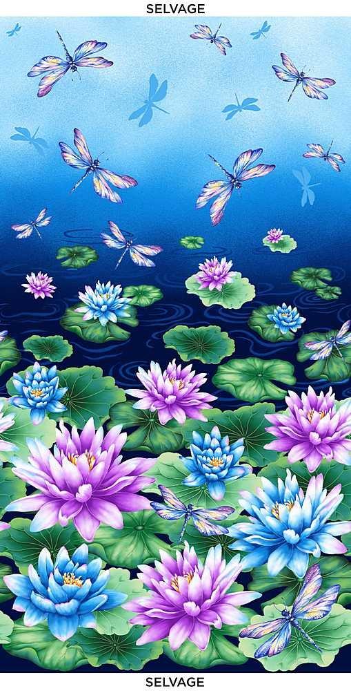 Water Dance - Water Lilies & Dragonflies - Multi - Panel