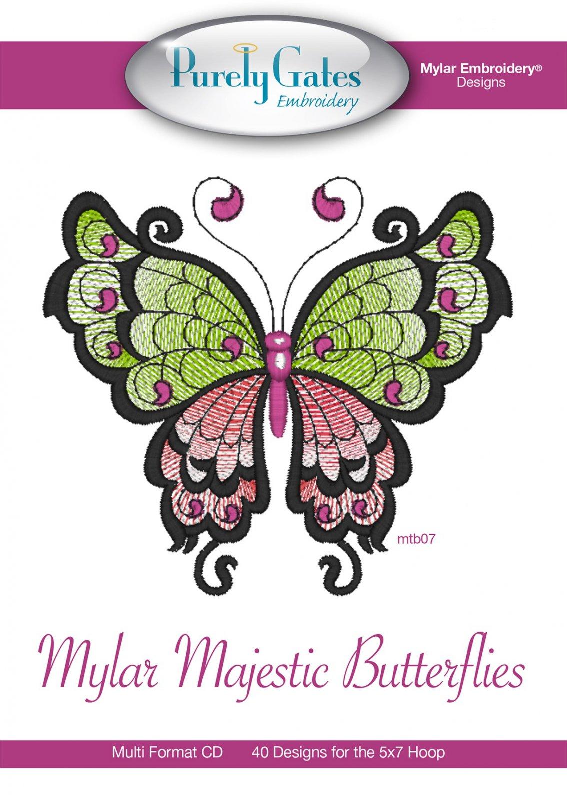 CD Mylar Embroidery Designs Mylar Majestic Butterflies Machine Embroidery