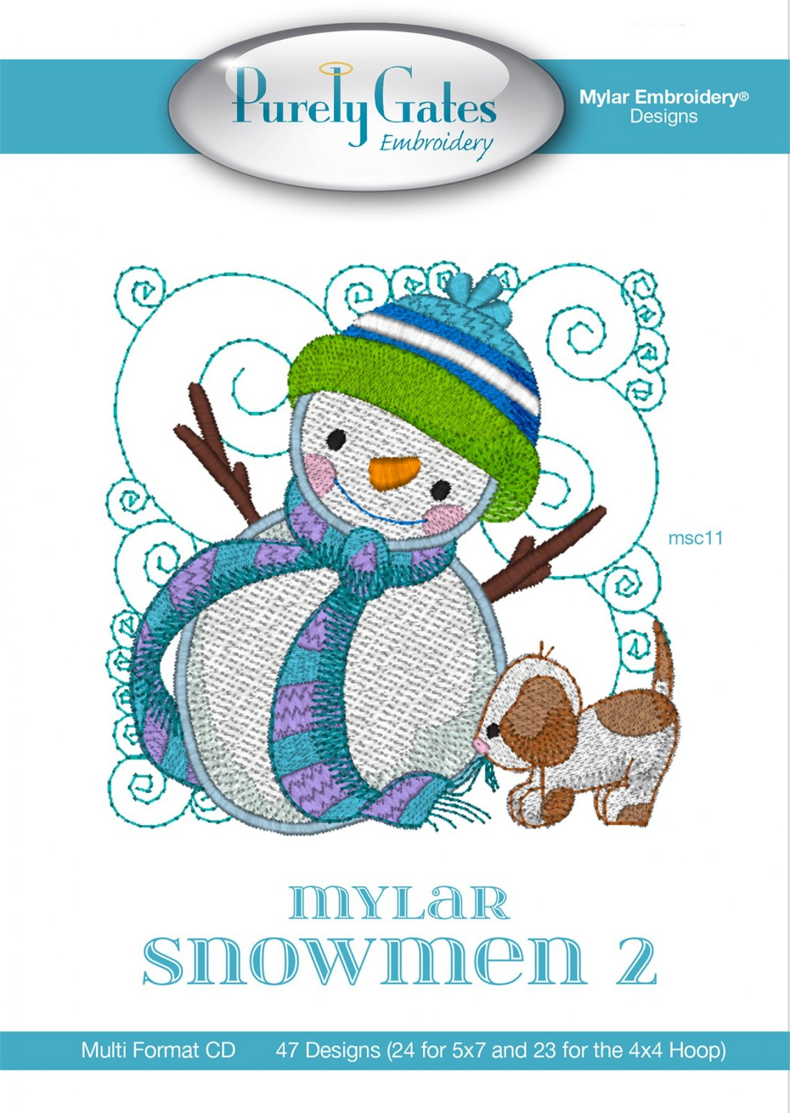 Mylar Embroidery CD Designs Mylar Snowmen 2 Machine Embroidery