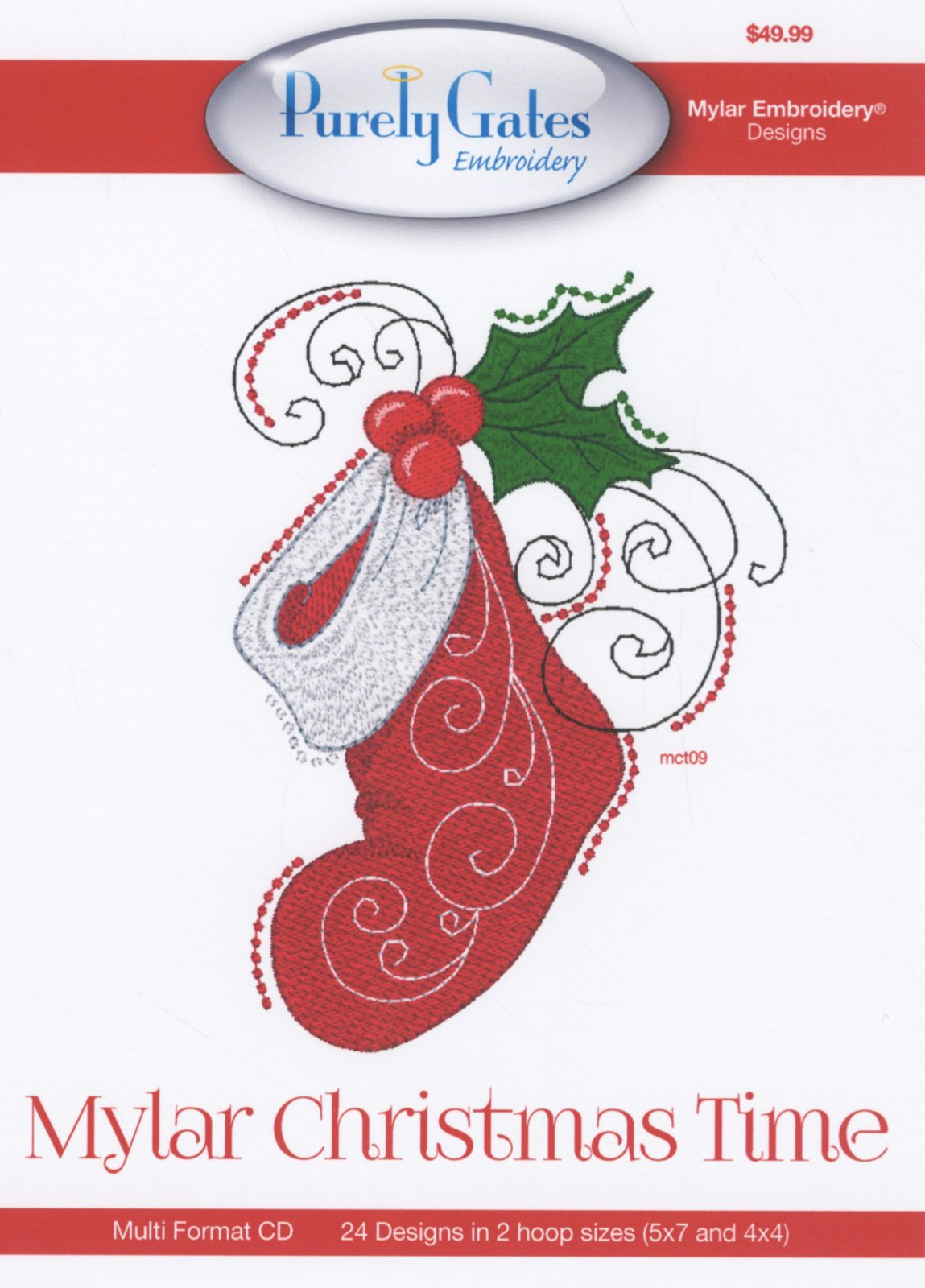CD Embroidery Design Mylar Christmas Time Machine Embroidery