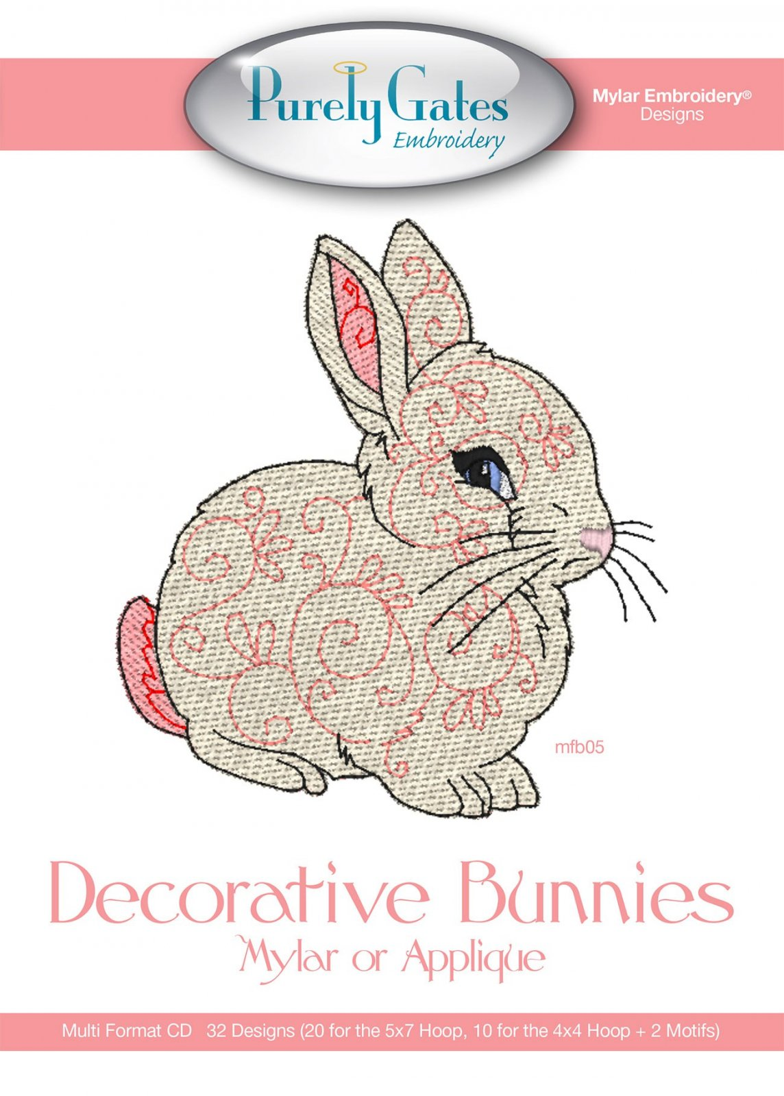 CD Decorative Bunnies Mylar or Applique Embroidery