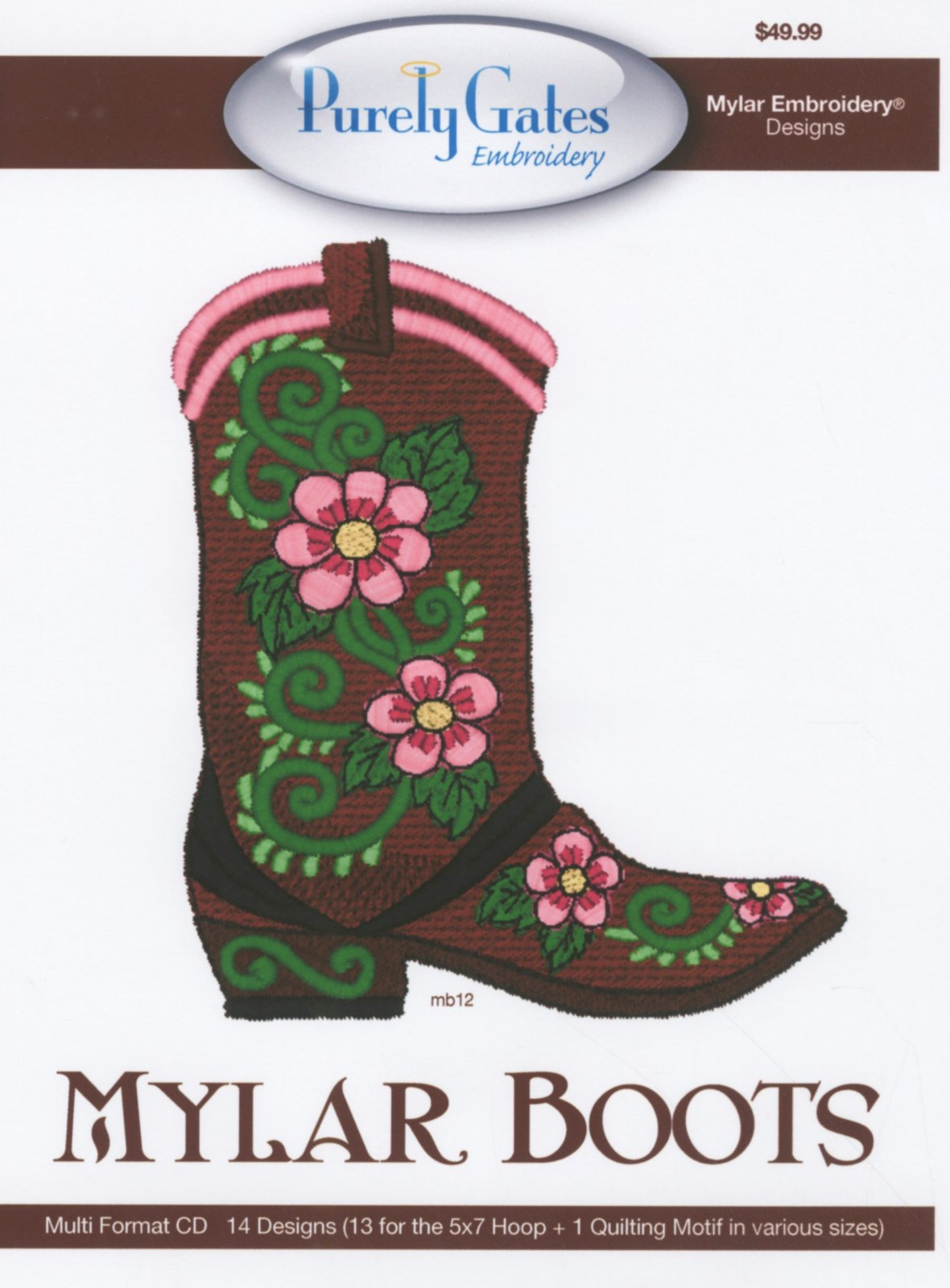 CD Embroidery Design Mylar Boots Machine Embroidery