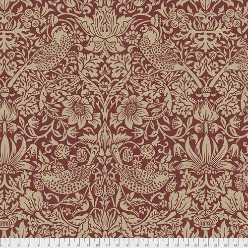 The Original Morris & Co.  Wide Backing - Standen Collection Strawberry Thief - Red - QBWM002.RED