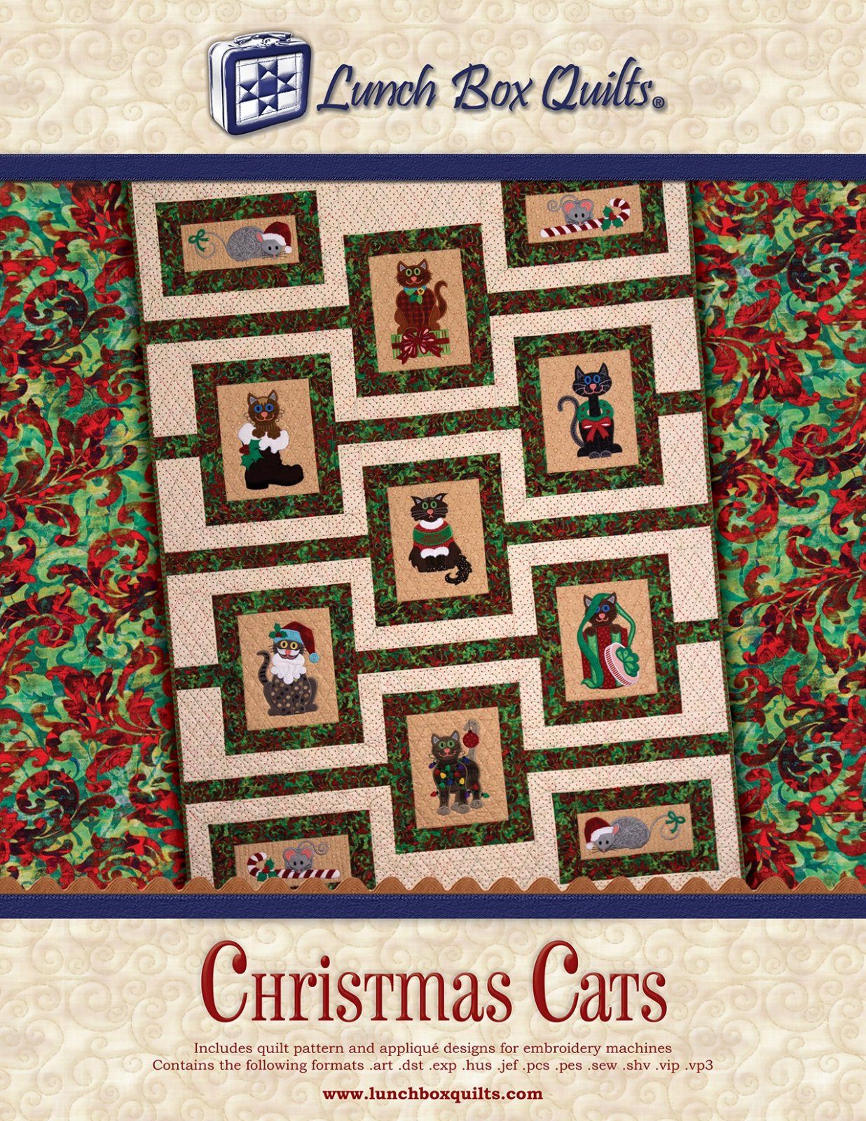 CD Christmas Cats Embroidery Applique Quilt