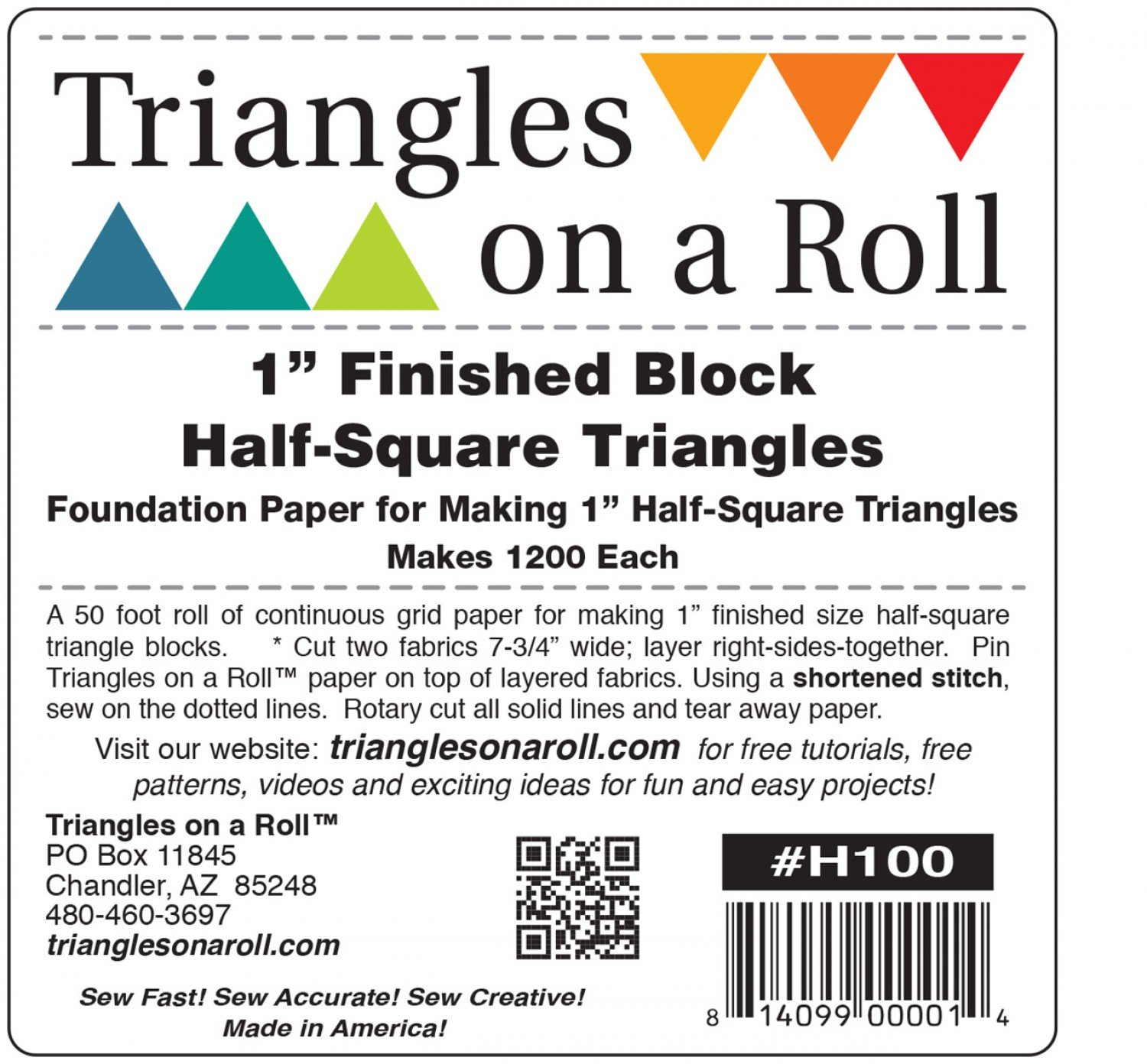 Triangles on a Roll 1in Half Square 50ft Roll