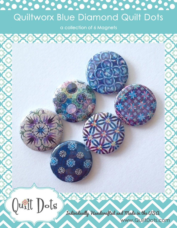 Quiltworx Blue Diamond 6 Magnets