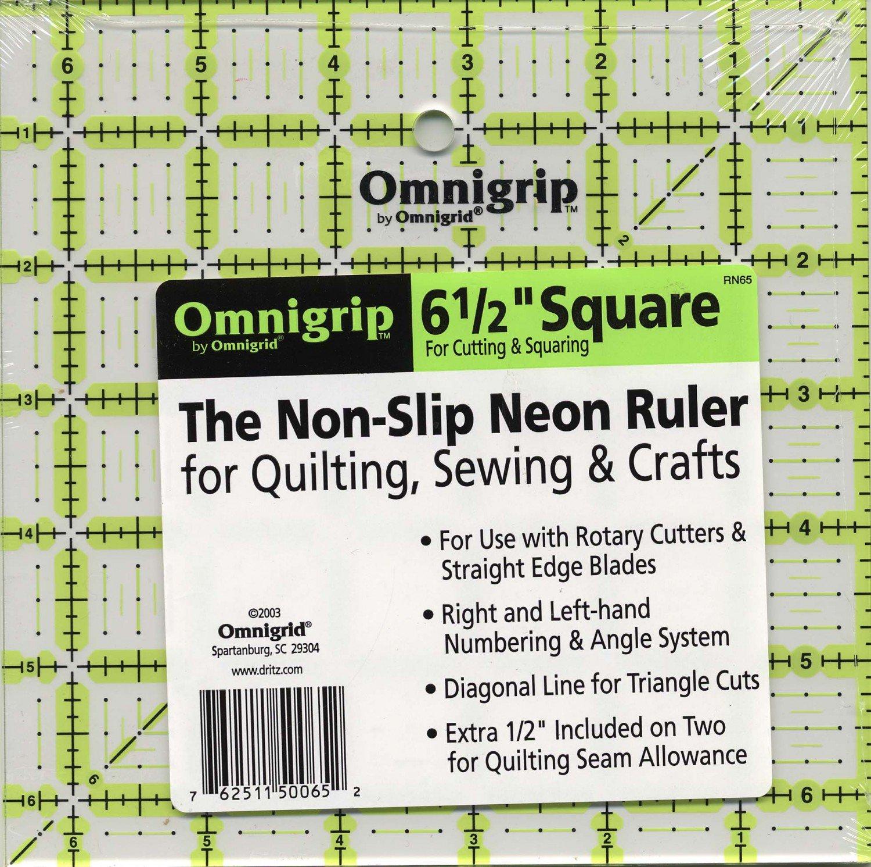 Omnigrid Omnigrip Neon Ruler 6 1/2in x 6 1/2in