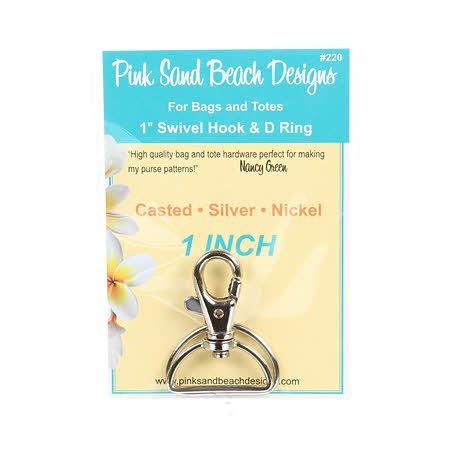 Swivel Hook and D Ring - Silver Nickel 1in