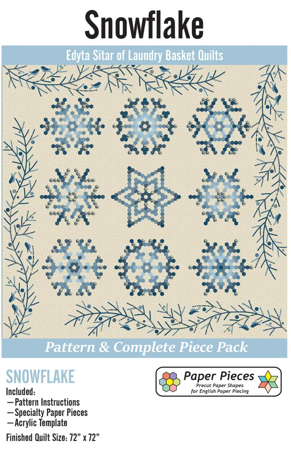 Paper Piece and Acrylic Fabric Cutting Template Pack for Snowflake Complete Set