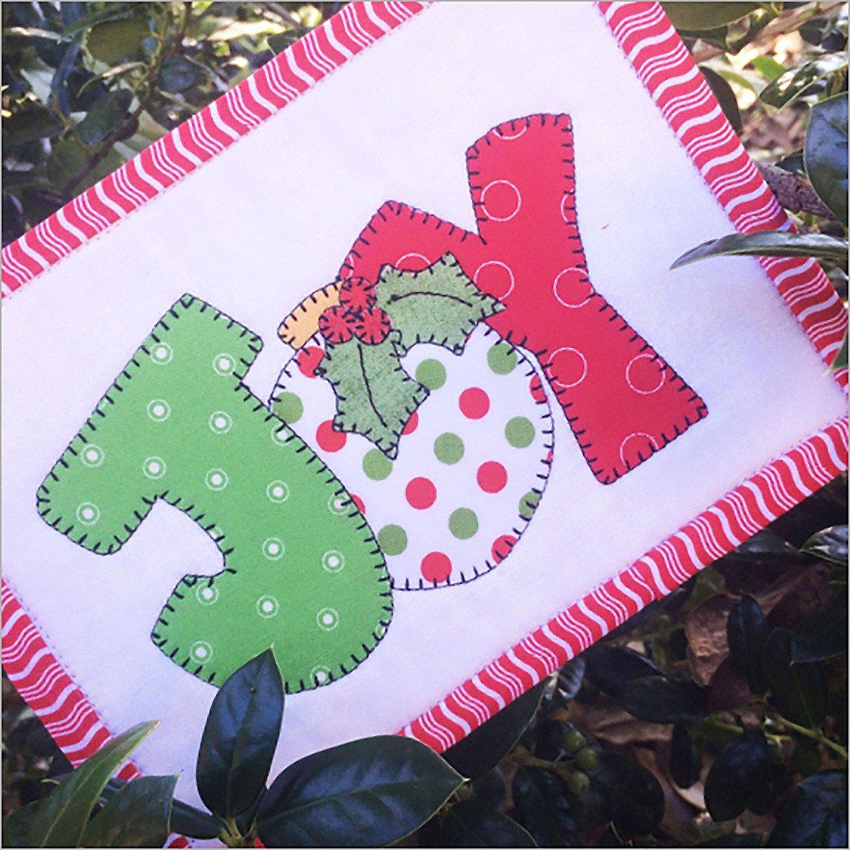 Christmas Joy Mug Rug with Laser cut Fabric