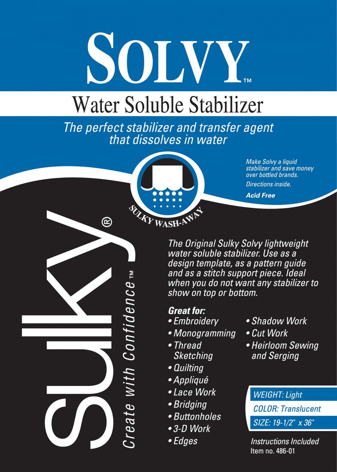 Solvy Water Soluble Stabilizer