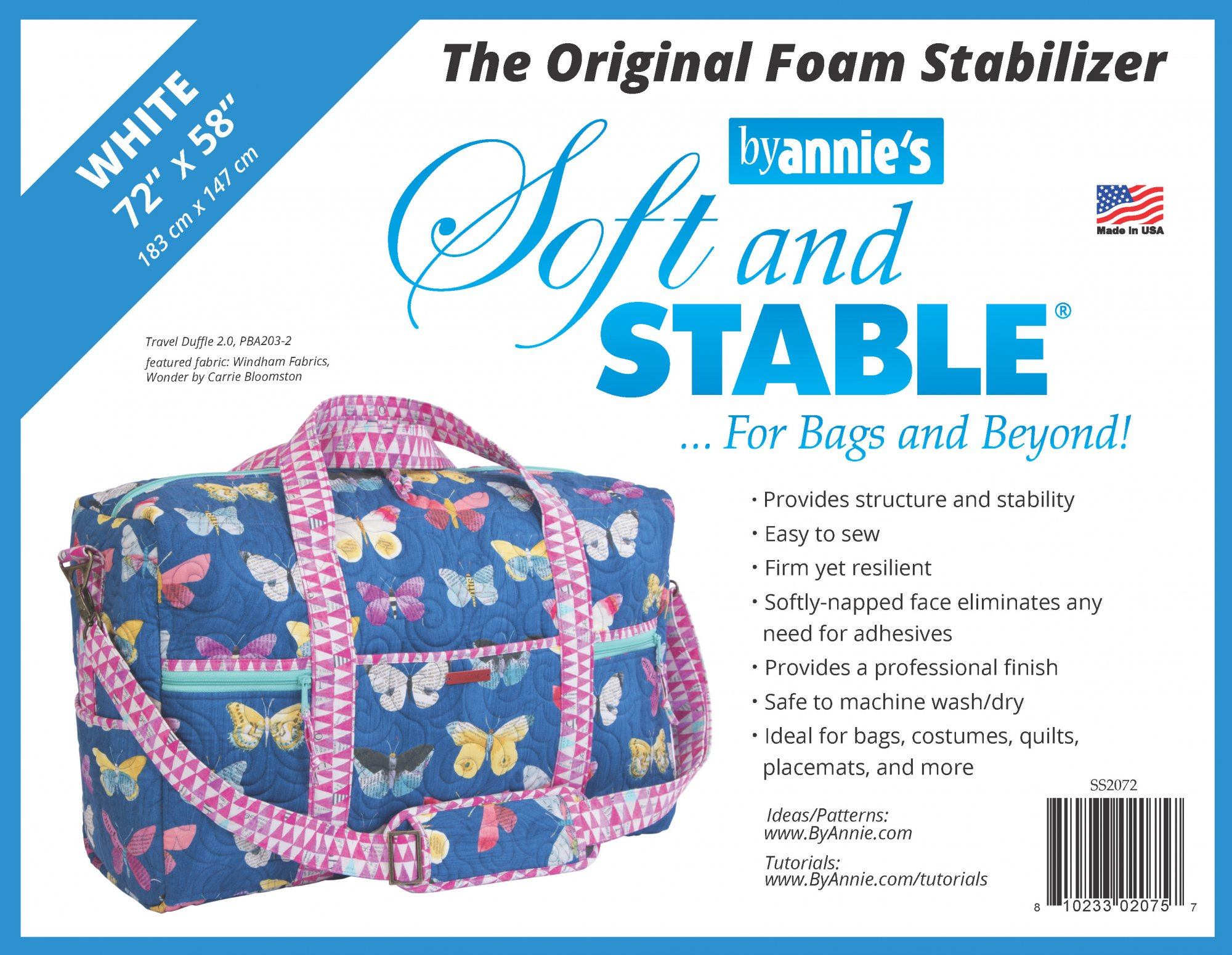 Soft and Stable White 100% Polyester Stabilizer 72in x 58in