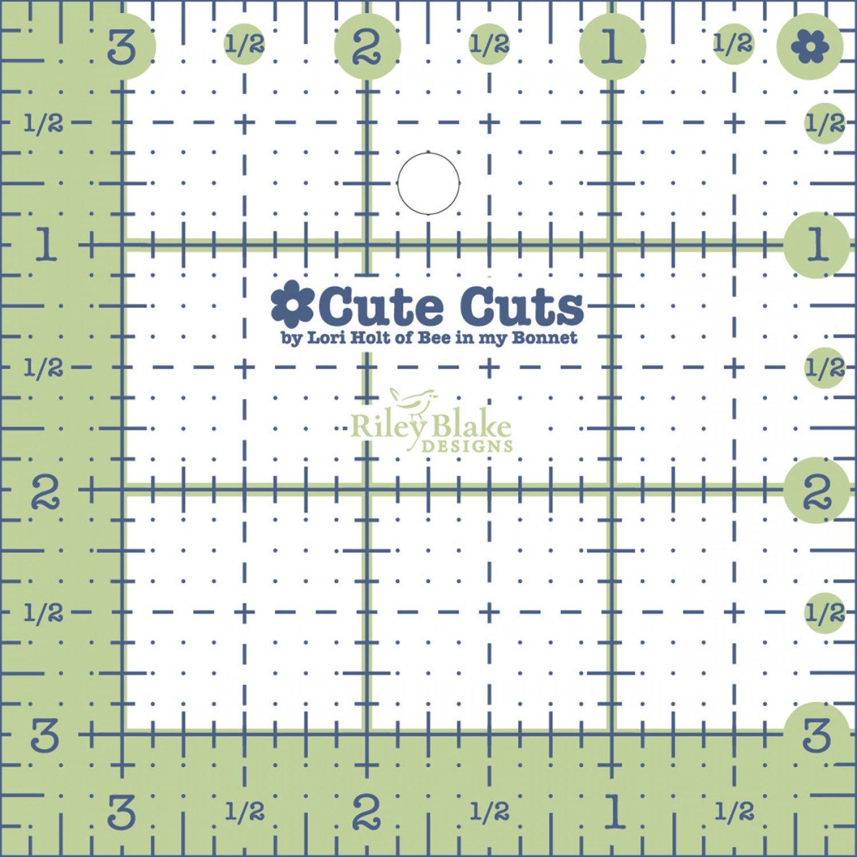 Cute Cut Ruler Square 3-1/2in x 3-1/2in