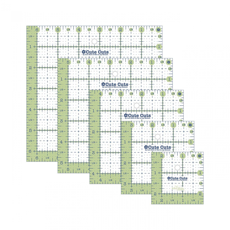 Cute Cuts Square Ruler Pack - 2-1/2in3-1/2in4-1/2in5-1/2in6-1/2in by Lori Holt