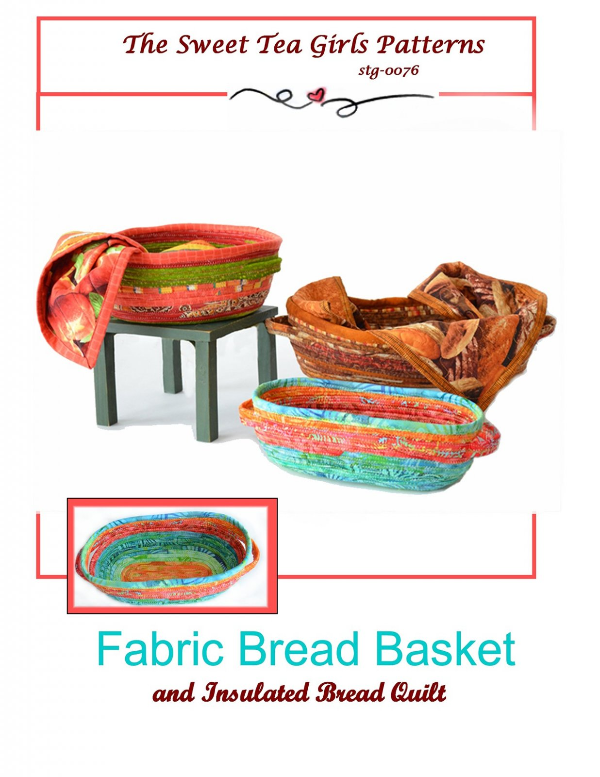 Fabric Bread Basket With Bread Quilt