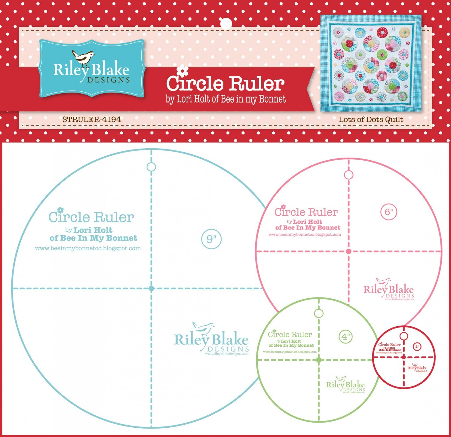 Lori Holt Circle Rulers With 9in , 6in , 4in and 2-1/2in