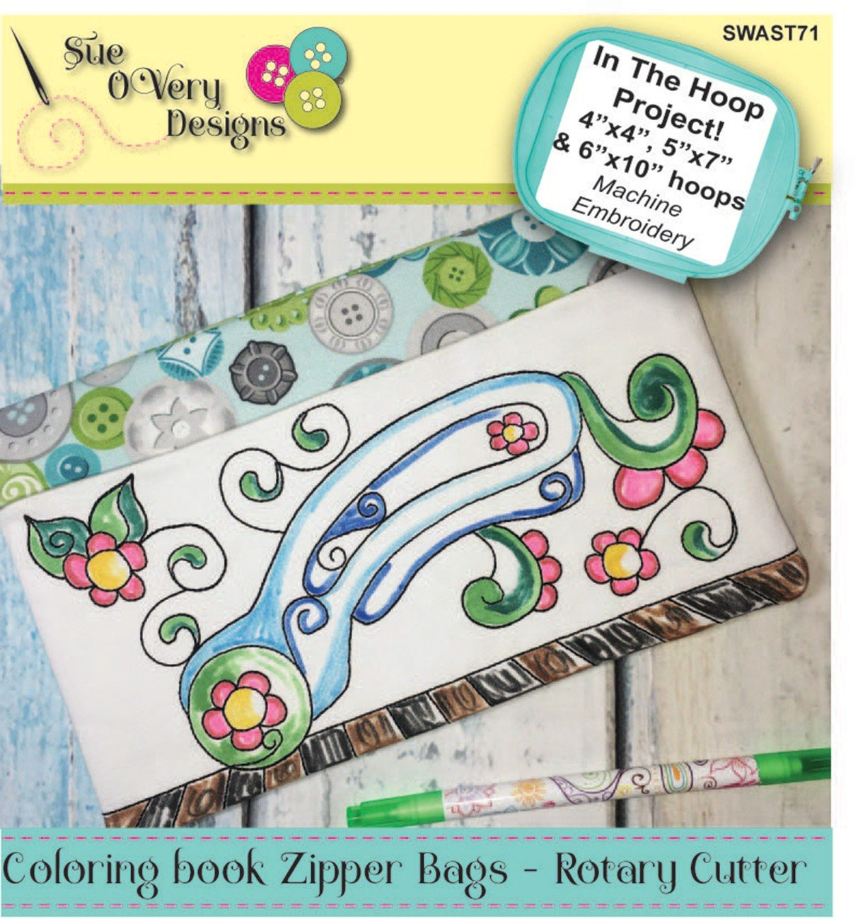 CD Coloring Book Zipper Pouch In the Hoop - Rotary Cutter