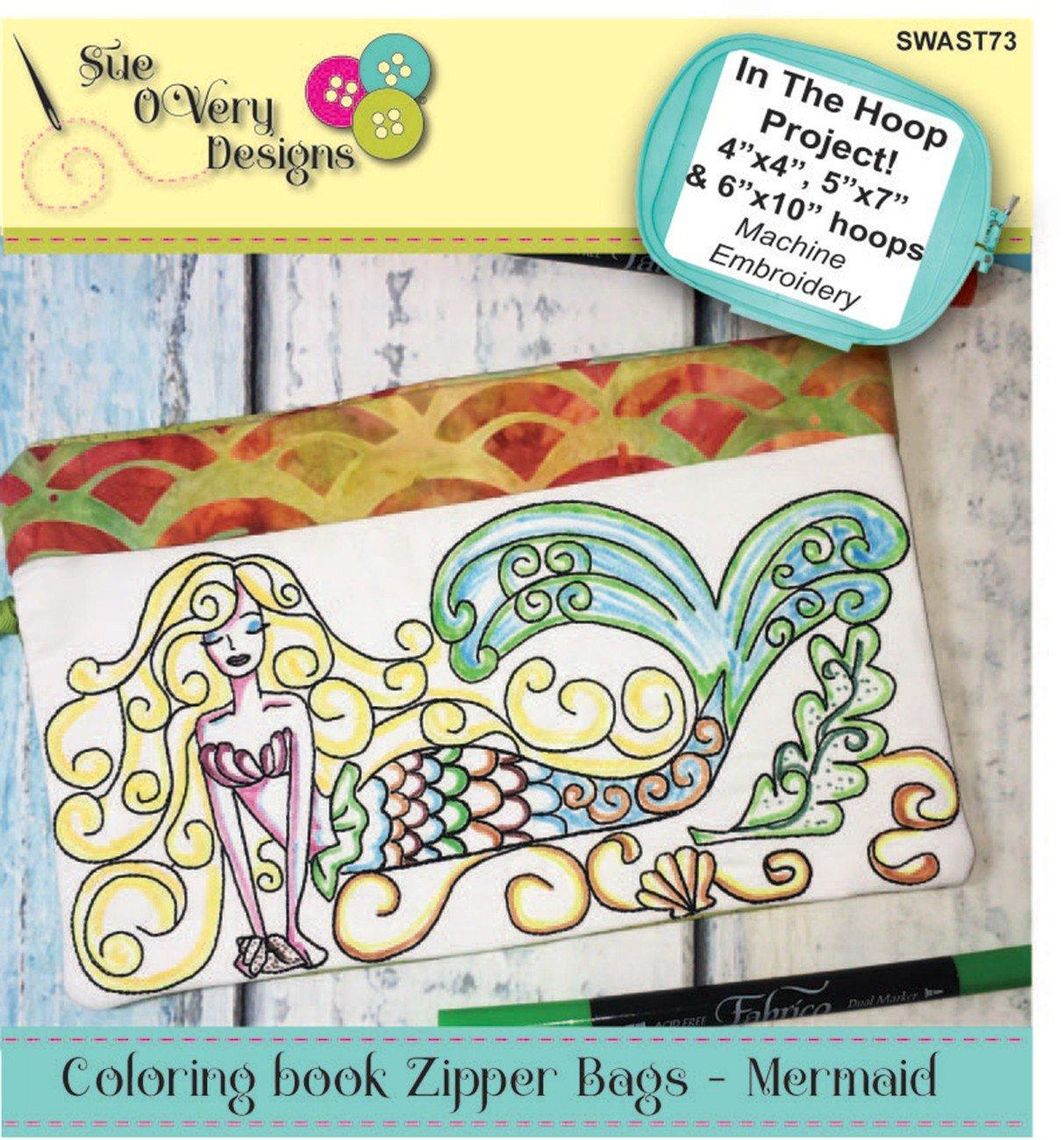 CD Coloring Book Zipper Pouch In the Hoop - Mermaid