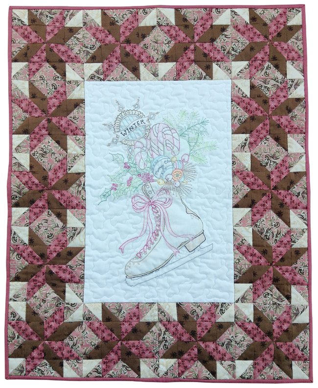 Vintage Ice Skate Wallhanging Quilt Kit